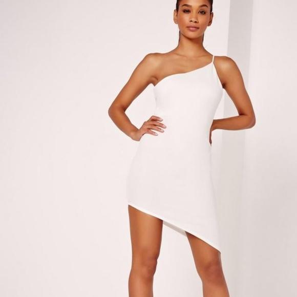 5841a5d0aa4 Missguided white one shoulder asymmetric dress. M_5b42609afe51514fb135d8c2